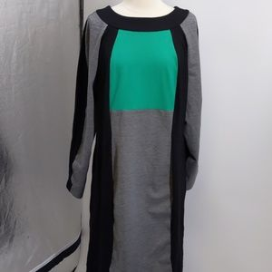 Ashro black/gray/green colorblock dress-sz 18